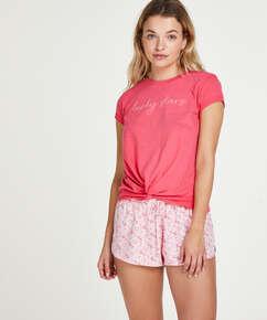 Haut de pyjama à manches courtes Jersey Knot, Rouge