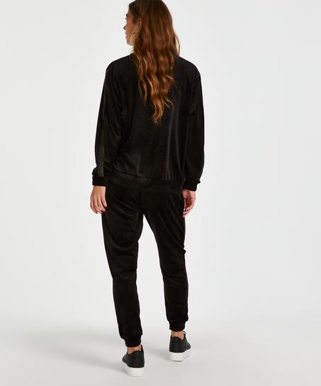 Pantalon de jogging Velours Lurex, Noir