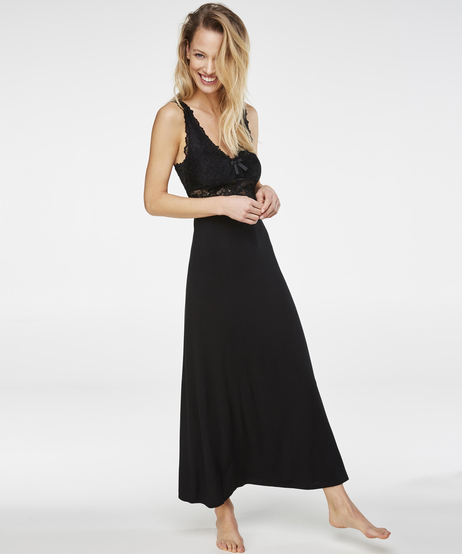 Longue nuisette Modal Lace, Noir, main