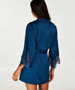 Kimono Lace Satin Indra Petite, Bleu