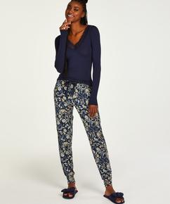 Pantalon de pyjama long Jersey, Bleu