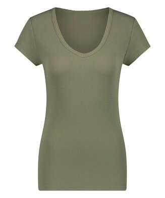 Haut de pyjama côtelé à manches courtes, Vert