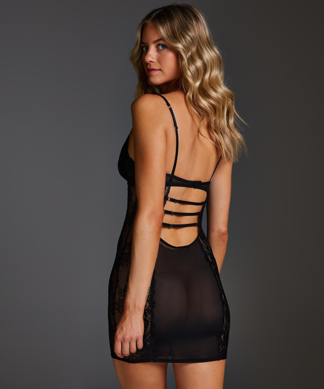 Slip dress Sosha à armature préformée, Noir, main