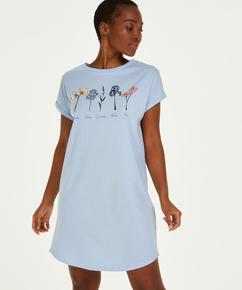 Chemise de nuit à encolure arrondie, Bleu