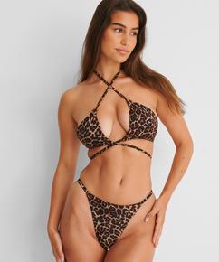 Haut de maillot de bain triangle préformé Animal Wrap HKM x NA-KD, marron