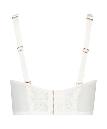 Soutien-gorge rembourré à armatures longues sans bretelles Hannako, Blanc