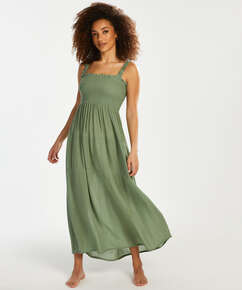 Robe longue Smocked, Vert