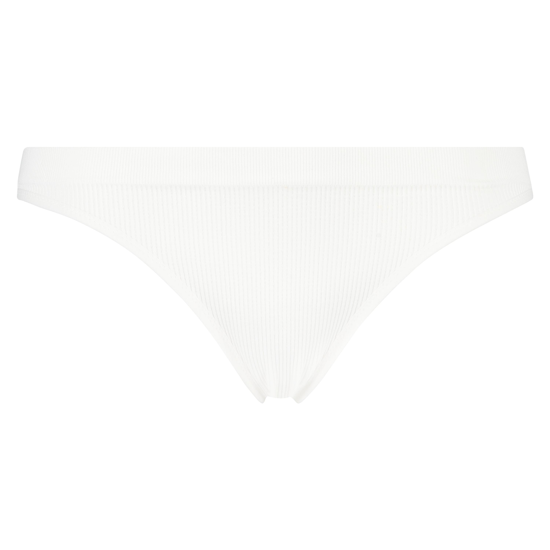 Slip brésilien taille haute sans couture, Blanc, main