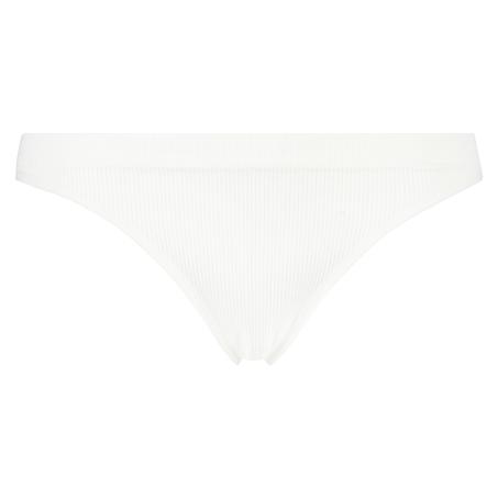 Slip brésilien taille haute sans couture, Blanc