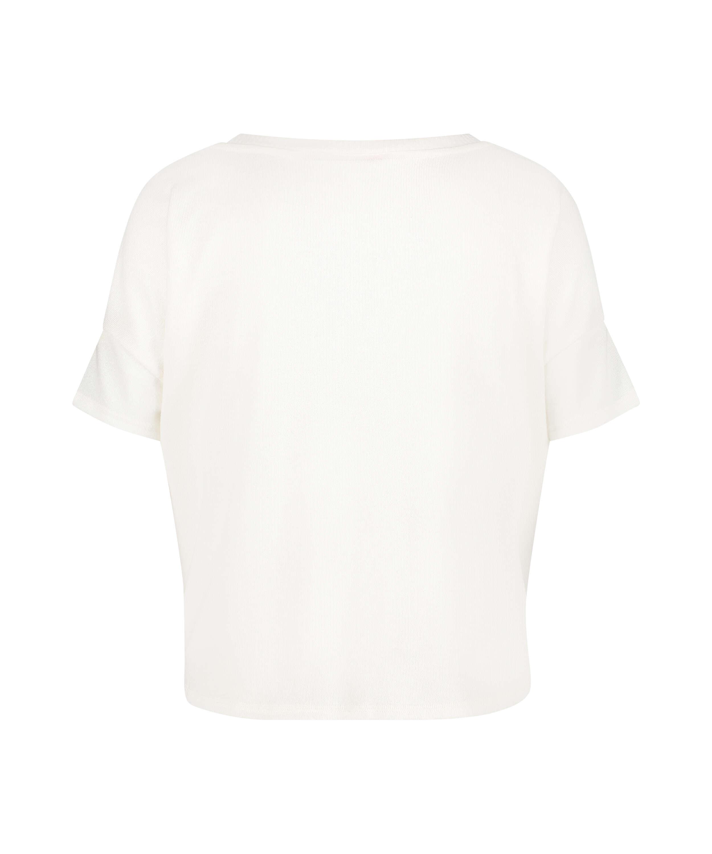 Haut de pyjama à manches courtes en jersey brossé, Blanc, main