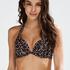 Haut de bikini à armatures à effet push-up préformé Leopard, Beige