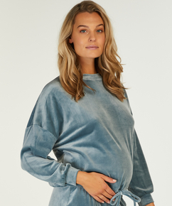 Top de grossesse en velours , Bleu