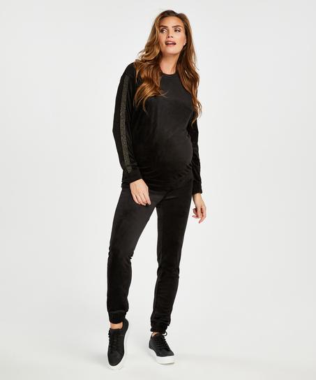 Pantalons de survêtement de maternité en velours Shimmer, Noir