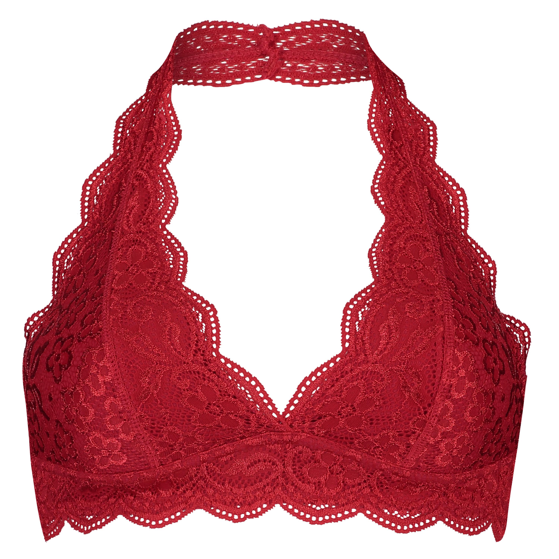 Brassière Halter Lace, Rouge, main