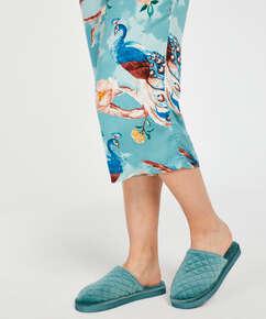 Pantoufles Velours, Bleu