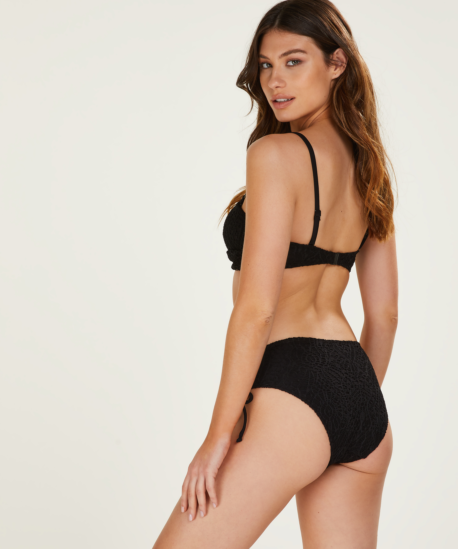 Haut de bikini bandeau préformé Crochet, Noir, main
