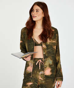 Haut de pyjama à manches longues World Map, Vert
