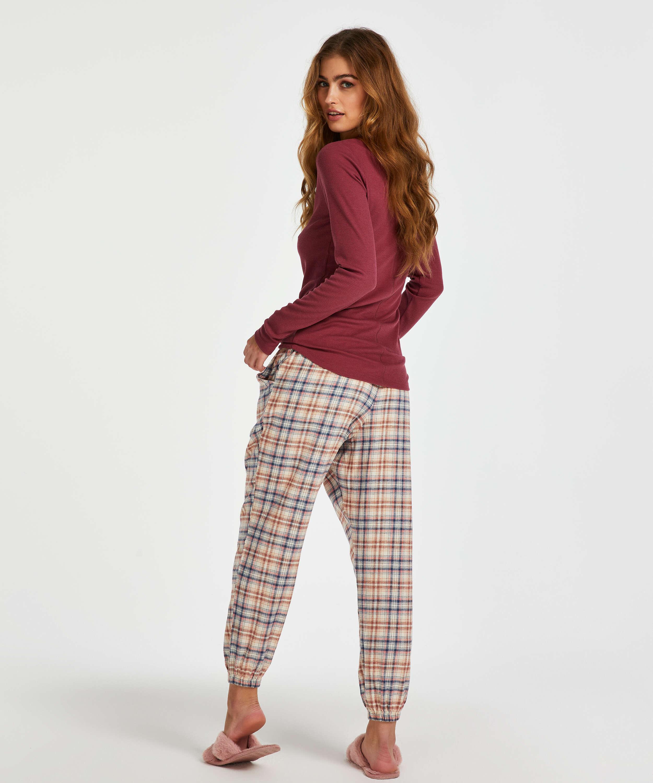 Haut de pyjama à manches longues, Rouge, main