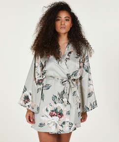 Kimono Satin imprimé, Bleu