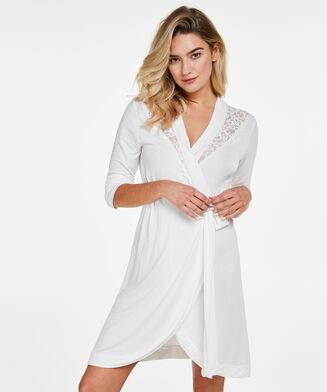 Peignoir Modal Lace, Blanc