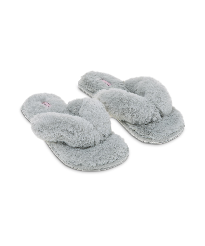 Tongs Fake Fur, Gris, main