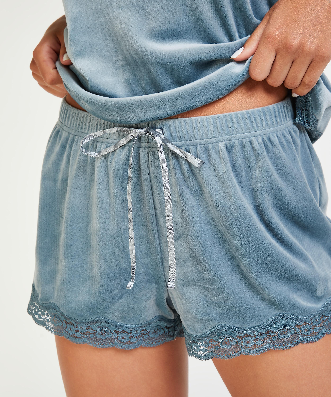 Short velours dentelle, Bleu, main