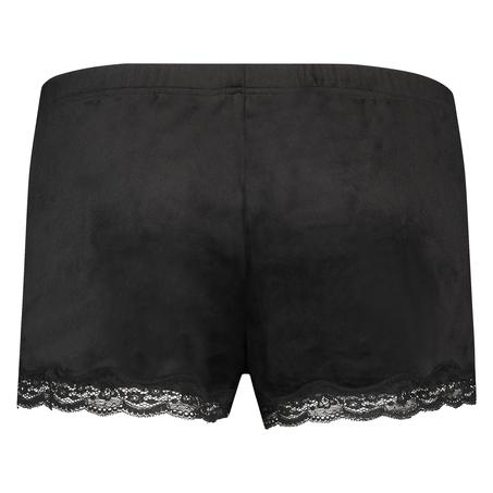 Short velours dentelle, Noir