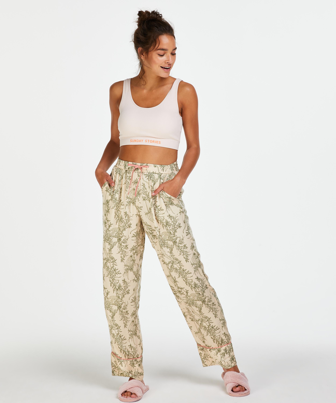 Pantalon de pyjama tissé, Beige, main