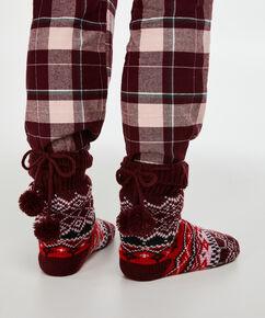 Chaussettes pour pantoufles Fairisle, Rouge
