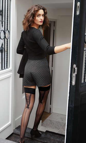 Bas Autofixants 20 Denier Pretty Lace, Noir