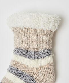 Chaussettes confortables rayures, Gris