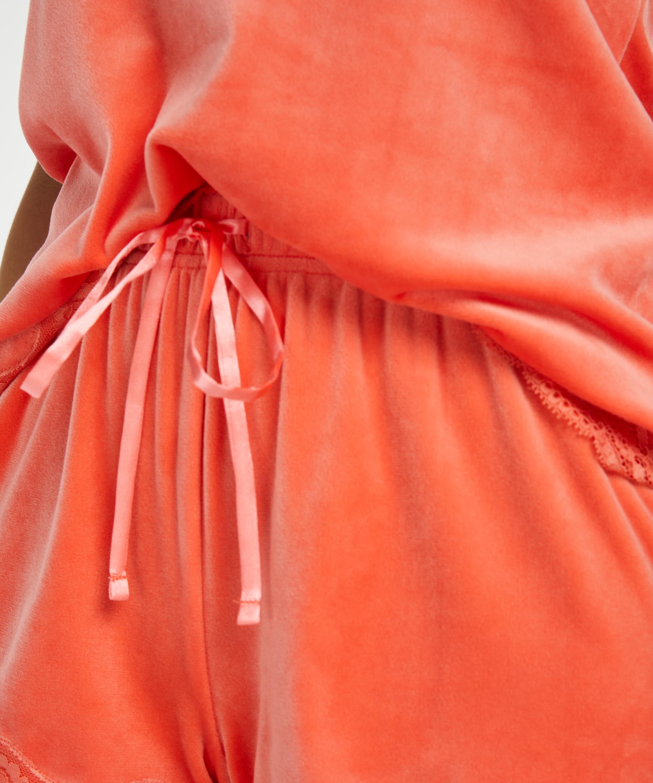 Short velours dentelle, Orange, main