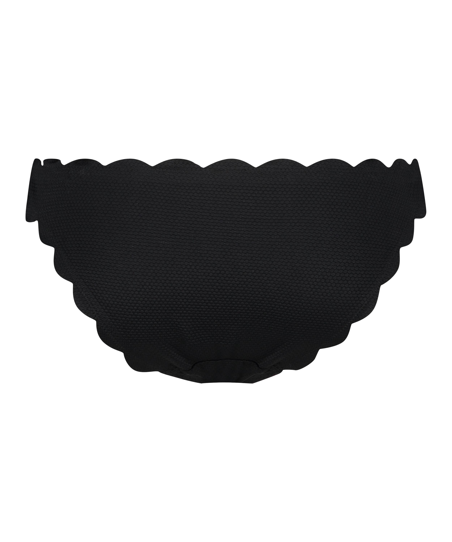 Slip de bikini rio taille basse Scallop Glam, Noir, main