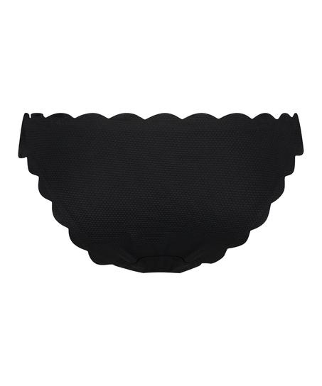 Slip de bikini rio taille basse Scallop Glam, Noir