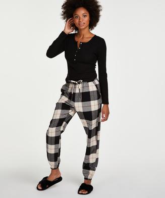 Pantalon de pyjama en sergé, Noir