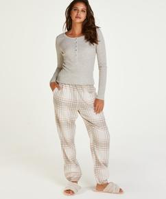 Haut de pyjama à manches longues, Beige