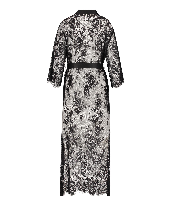 Long Kimono Allover Lace, Noir, main