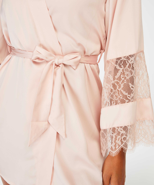 Kimono Satin en dentelle, Rose, main