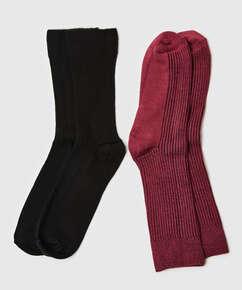 2 paires de chaussettes Rib Soft Touch, Rouge