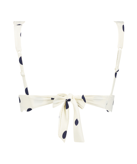 Haut de bikini triangle Scallop Dot, Blanc