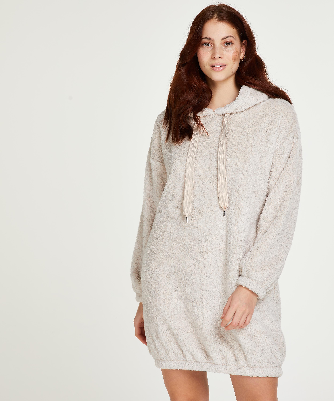 Robe snuggle polaire femme , Beige, main