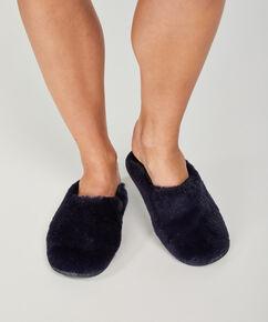 Sandales d'intérieur Imitation fourrure, Bleu