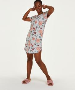 Chemise de nuit à col rond Flower, Gris