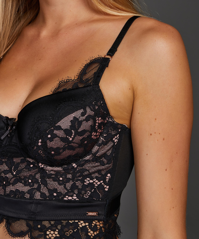Soutien-gorge à armatures préformé longline Heather, Noir, main