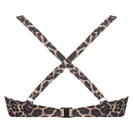 Haut de bikini à armatures préformé Leopard, Beige