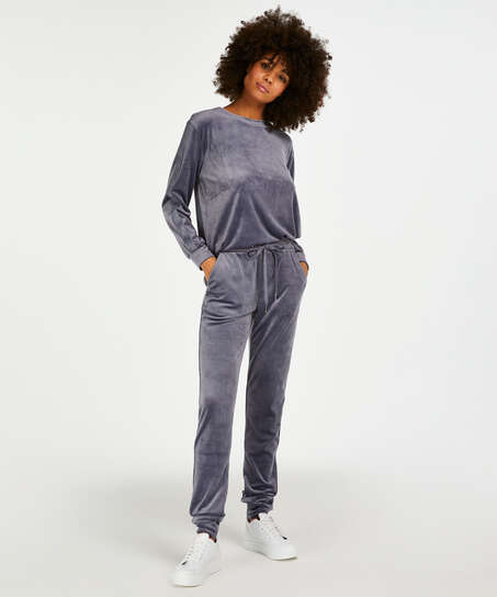 Pantalon de jogging Velours Lurex, Gris