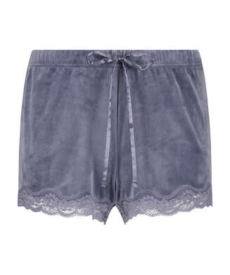 Short velours dentelle, Gris