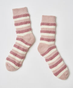 Chaussettes confortables rayures, Rose