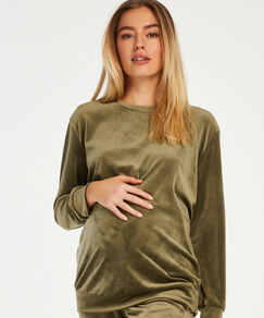 Kuncg Pyjamas dallaitement Couleur Unie V/êtements de Nuit avec Dentelle Manche Longue Grossesse Robe Chemises de Nuit Maternit/é