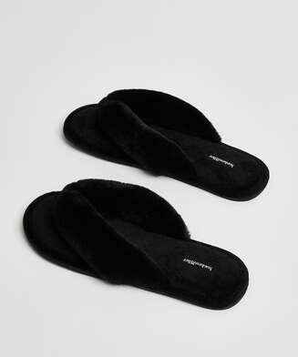 Pantoufles en Velours et fourrure, Noir